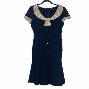 Musol navy blue with tan accent vintage look dress